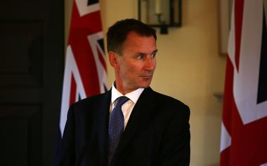 Britain's Foreign Secretary Jeremy Hunt gives a press conference at the...