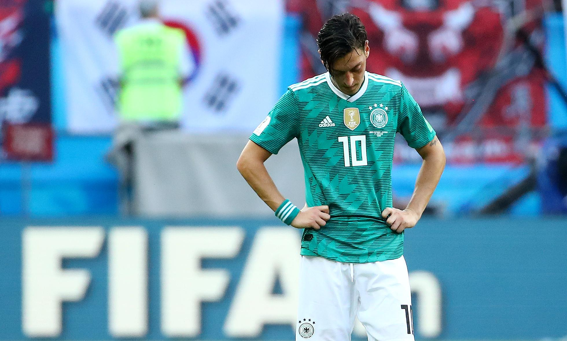 Soccer Football - World Cup - Group F - South Korea vs Germany - Kazan Arena, Kazan, Russia - June 27, 2018   Germany's Mesut Ozil looks dejected after the match    Michael Dalder
