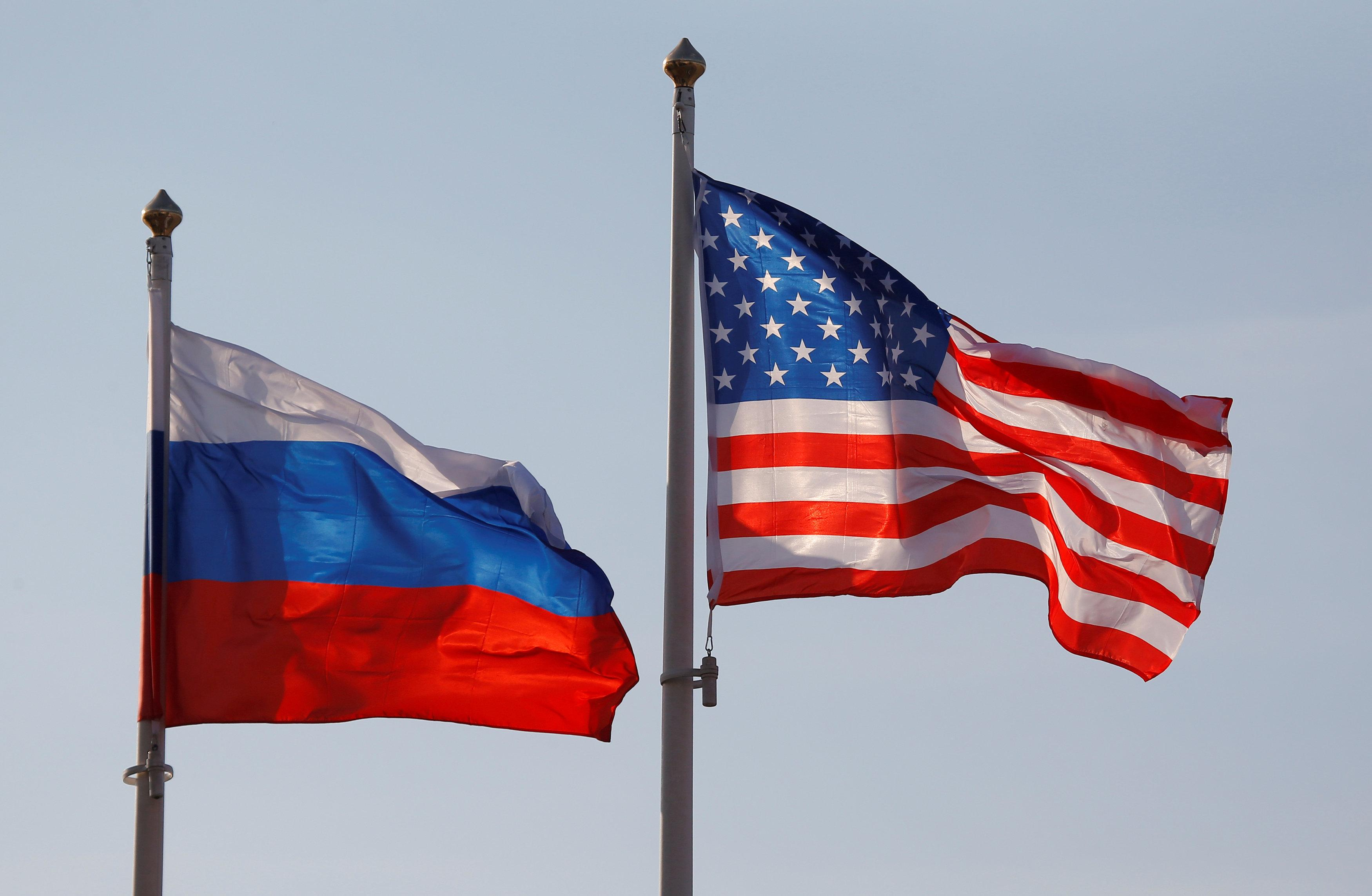 National flags of Russia and the U.S. fly at Vnukovo International Airport in Moscow, Russia April 11, 2017. Maxim Shemetov