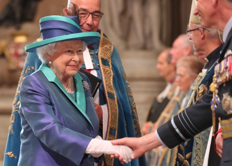 Britain's Queen Elizabeth arrives at Westminster Abbey for a service to mark the centenary of the Royal Air Force (RAF), in central London, Britain July 10, 2018.  Simon Dawson