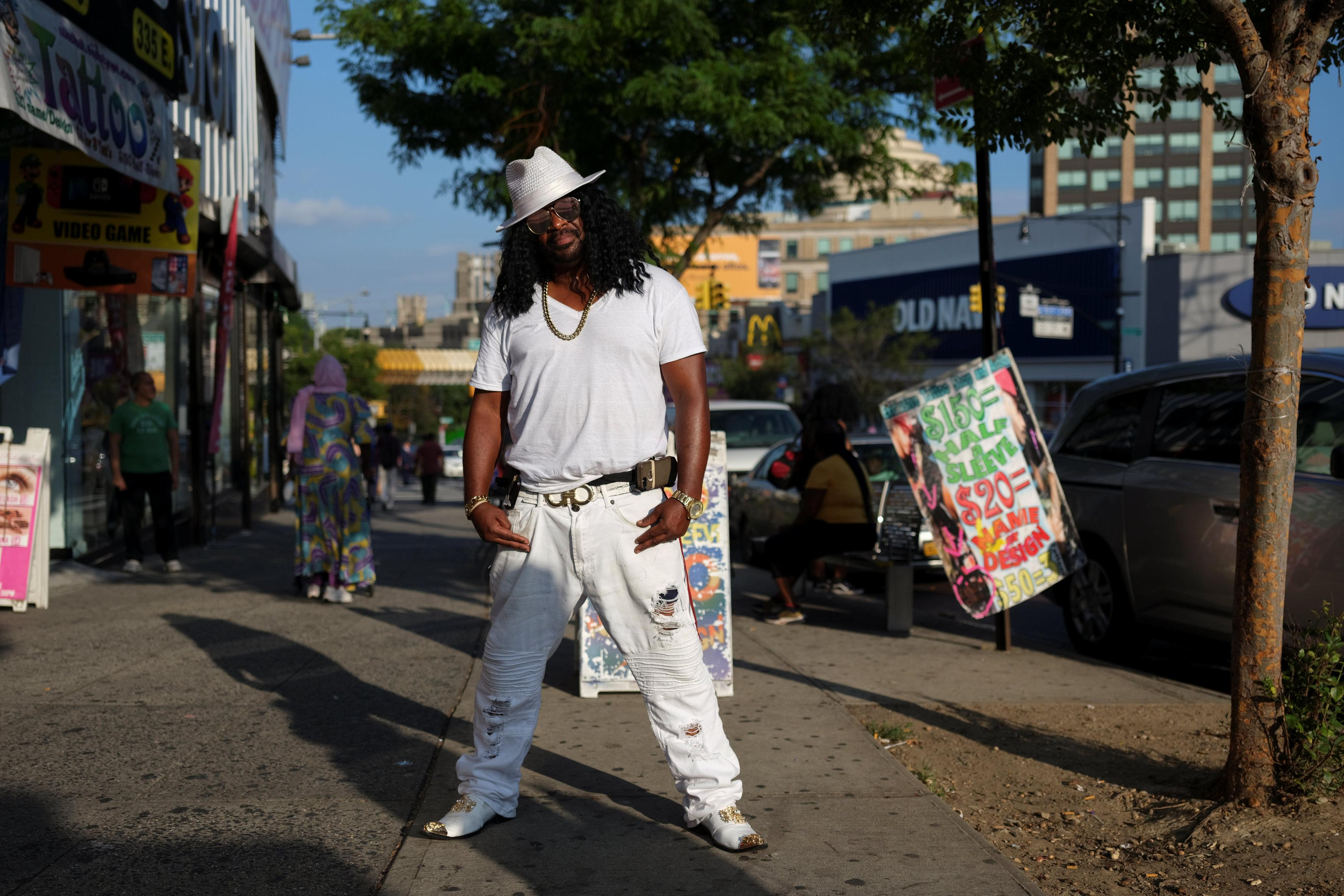 Robert Norman, 37, a street vendor and musician, poses for a picture in the Bronx borough of New York, U.S., September 2, 2018. Norman said he's a very unique person and emphasised the importance of creativity in his style.   Caitlin Ochs