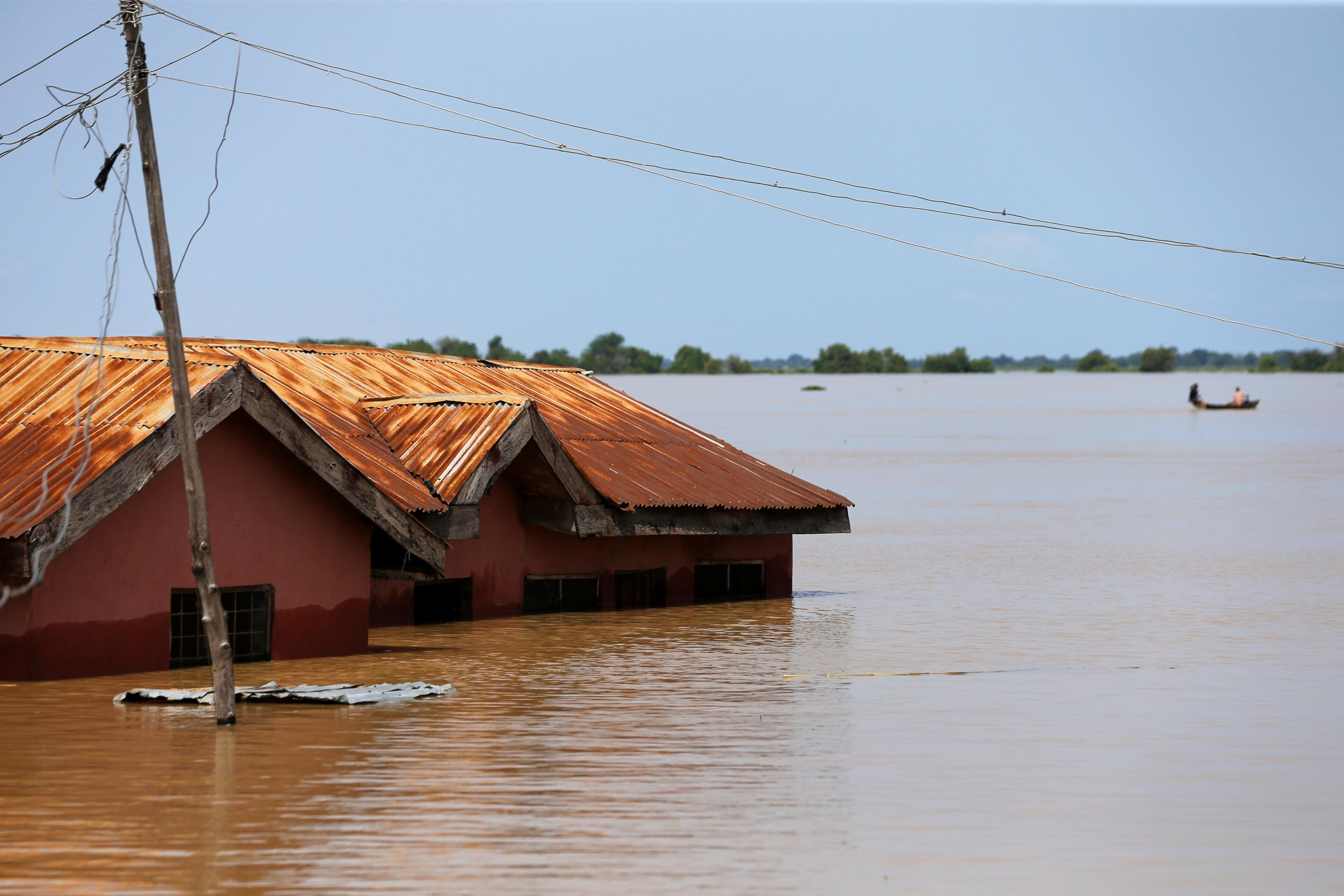 A house partially submerged in flood waters is pictured  in Lokoja city, Kogi State, Nigeria September 17, 2018. Afolabi Sotunde