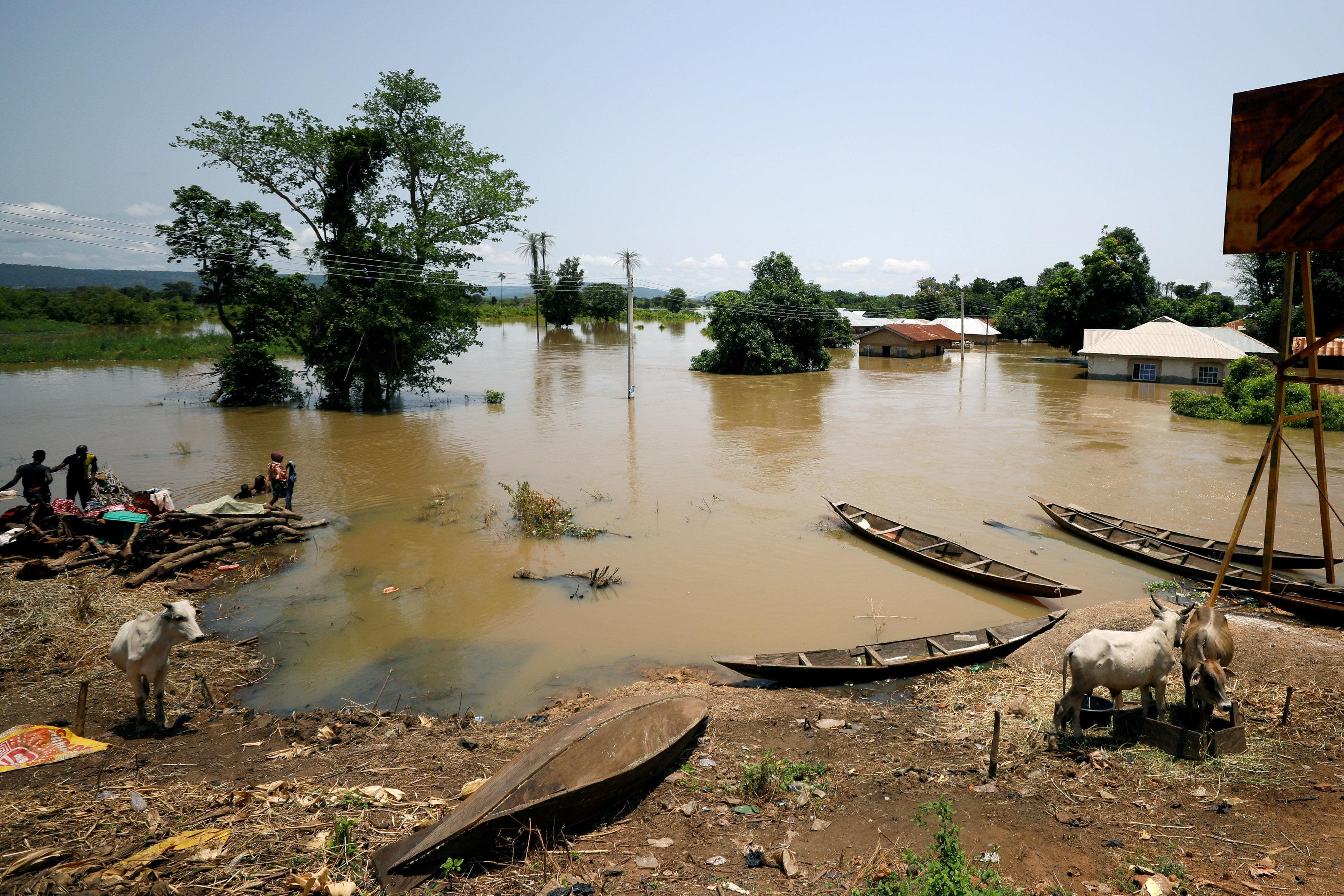 Partially submerged houses are pictured in flood waters in Kogi State, Nigeria September 17, 2018. Afolabi Sotunde