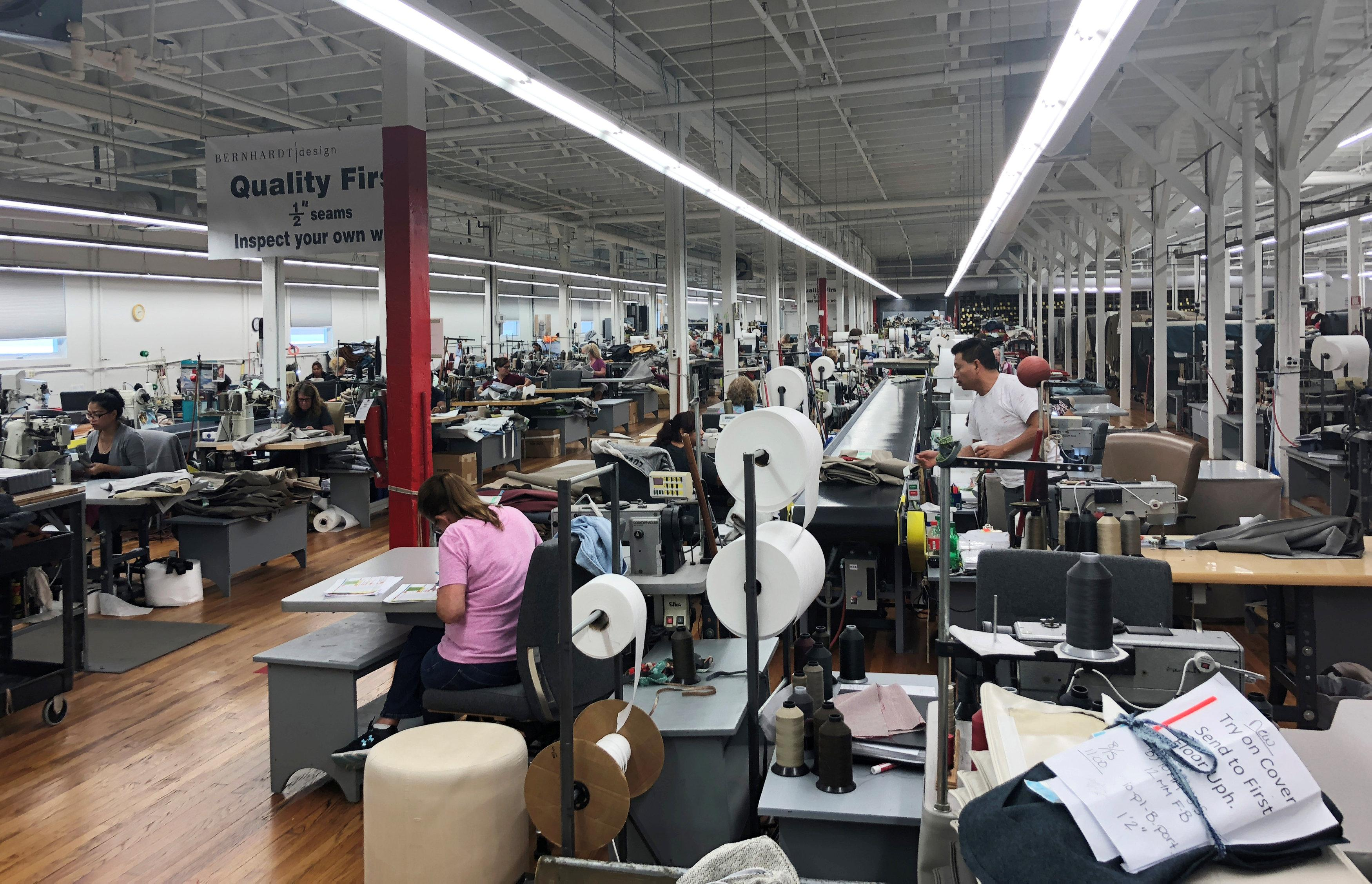 The sewing lines at Bernhard Furniture Company which where skilled craft jobs are growing without the help of tariffs, and company officials say they are pressed to fill open positions is shown in Lenoir, North Carolina, U.S., August 15, 2018.     Howard Schneider