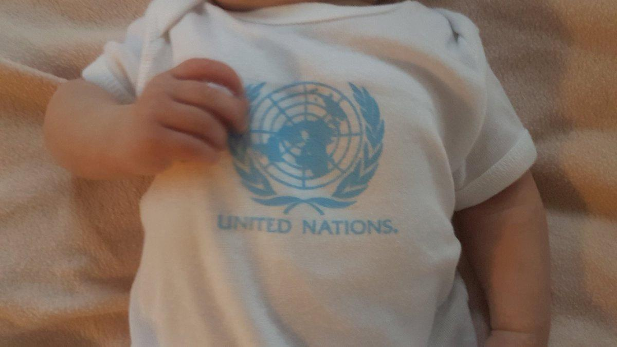 The U.N. t-shirt of New Zealand Prime Minister Jacinda Ardern's and Clarke Gayford's baby Neve Te Aroha is seen in New York, U.S. September 25, 2018 in this picture obtained from social media on September 26, 2018. Twitter/Clarke Gayford/via