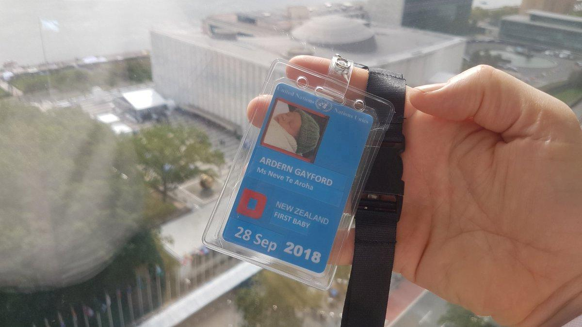 The U.N. id pass of New Zealand Prime Minister Jacinda Ardern's and Clarke Gayford's baby Neve Te Aroha is seen in New York, U.S. September 24, 2018 in this picture obtained from social media on September 26, 2018. Twitter/Clarke Gayford/via