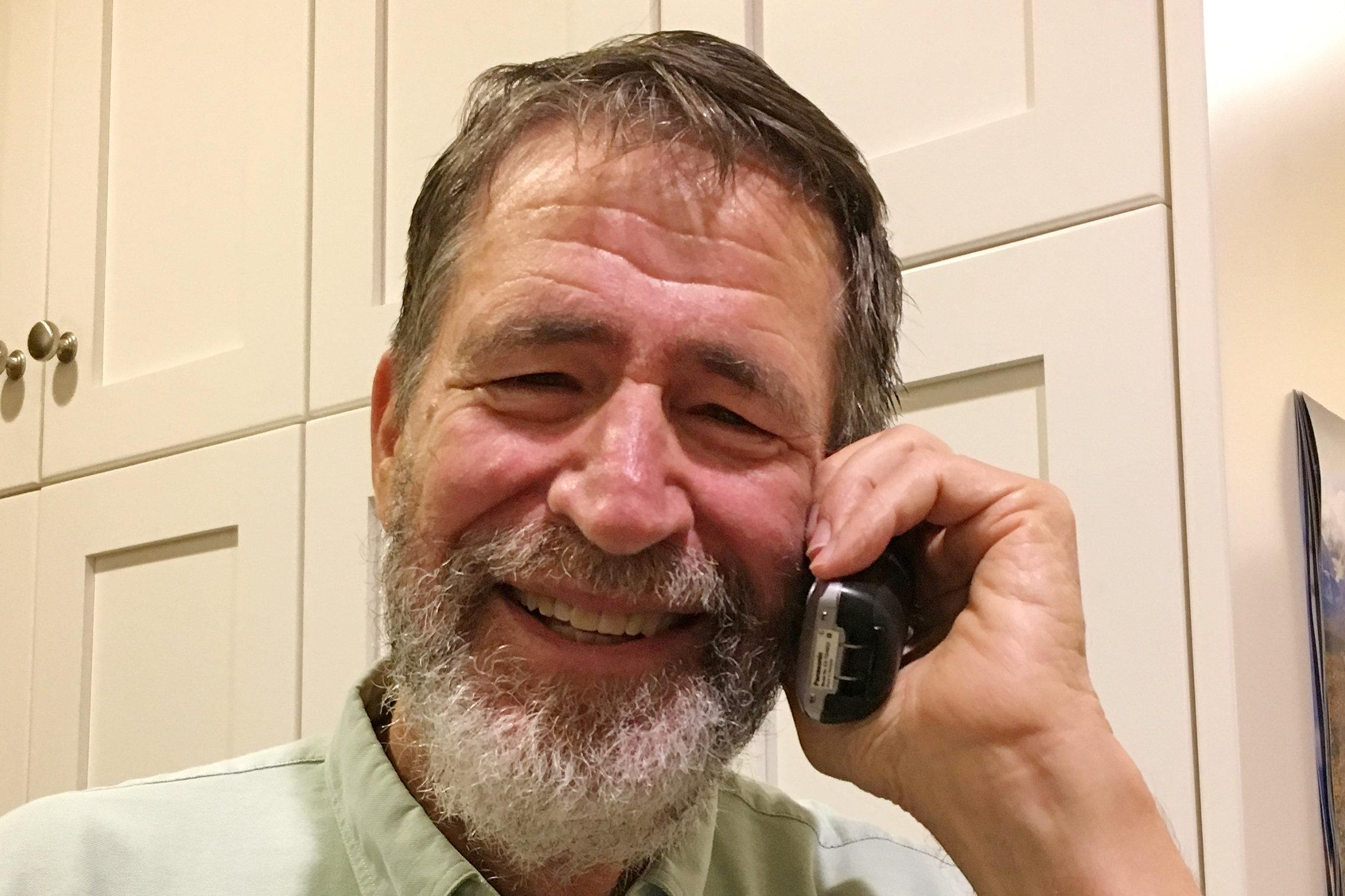 George P. Smith from the University of Missouri, a winner of the 2018 Nobel Prize for Chemistry, takes phone calls from well-wishers at his home in Columbia, Missouri, U.S. October 3, 2018.   Courtesy of Marjorie Sable/Handout via