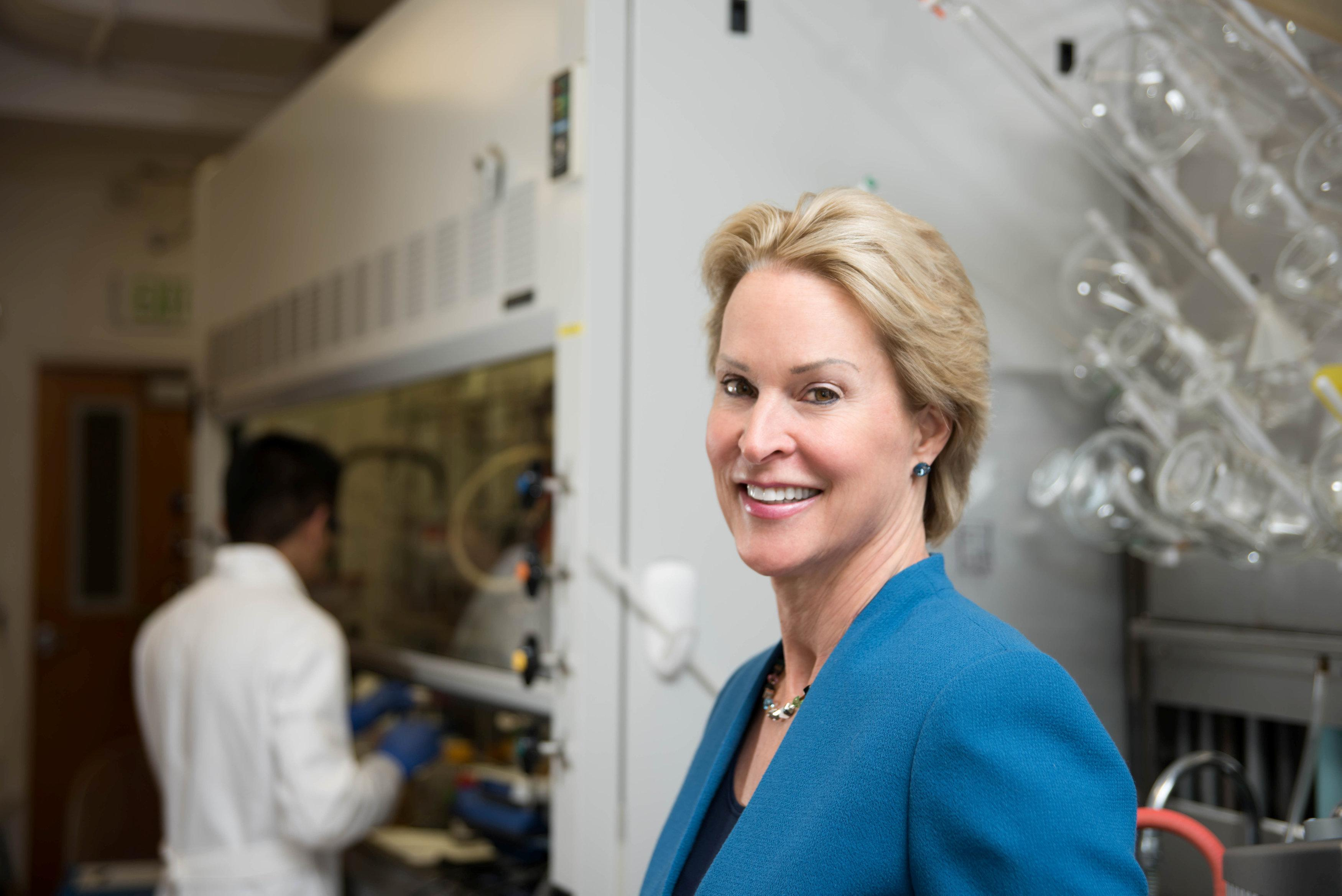 Frances Arnold of the California Institute of Technology (CalTech), a winner of the 2018 Nobel Prize for Chemistry, poses in a laboratory in an undated photo provided to Reuters by Caltech October 3, 2018. California Institute of Technology/Handout via