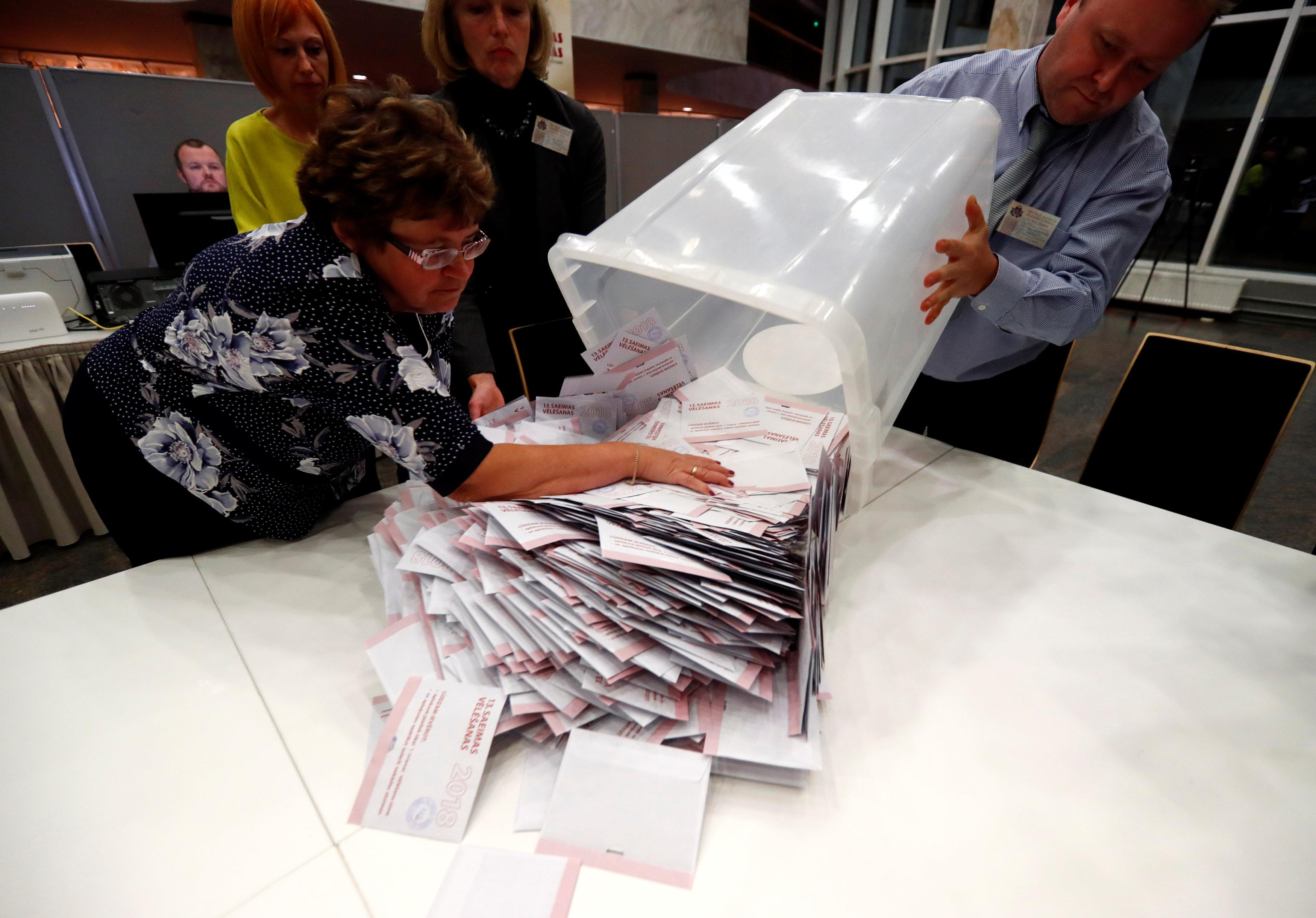 Election officials open ballot box during a general election in Riga, Latvia October 6, 2018. Ints Kalnins