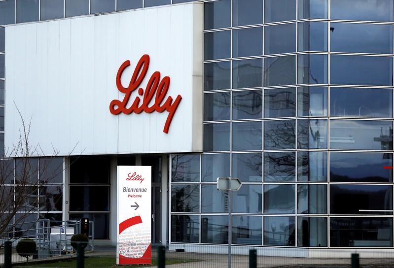 The logo of Lilly is seen on a wall of the Lilly France company unit, part of the Eli Lilly and Co drugmaker group, in Fegersheim near Strasbourg, France, February 1, 2018. Vincent Kessler