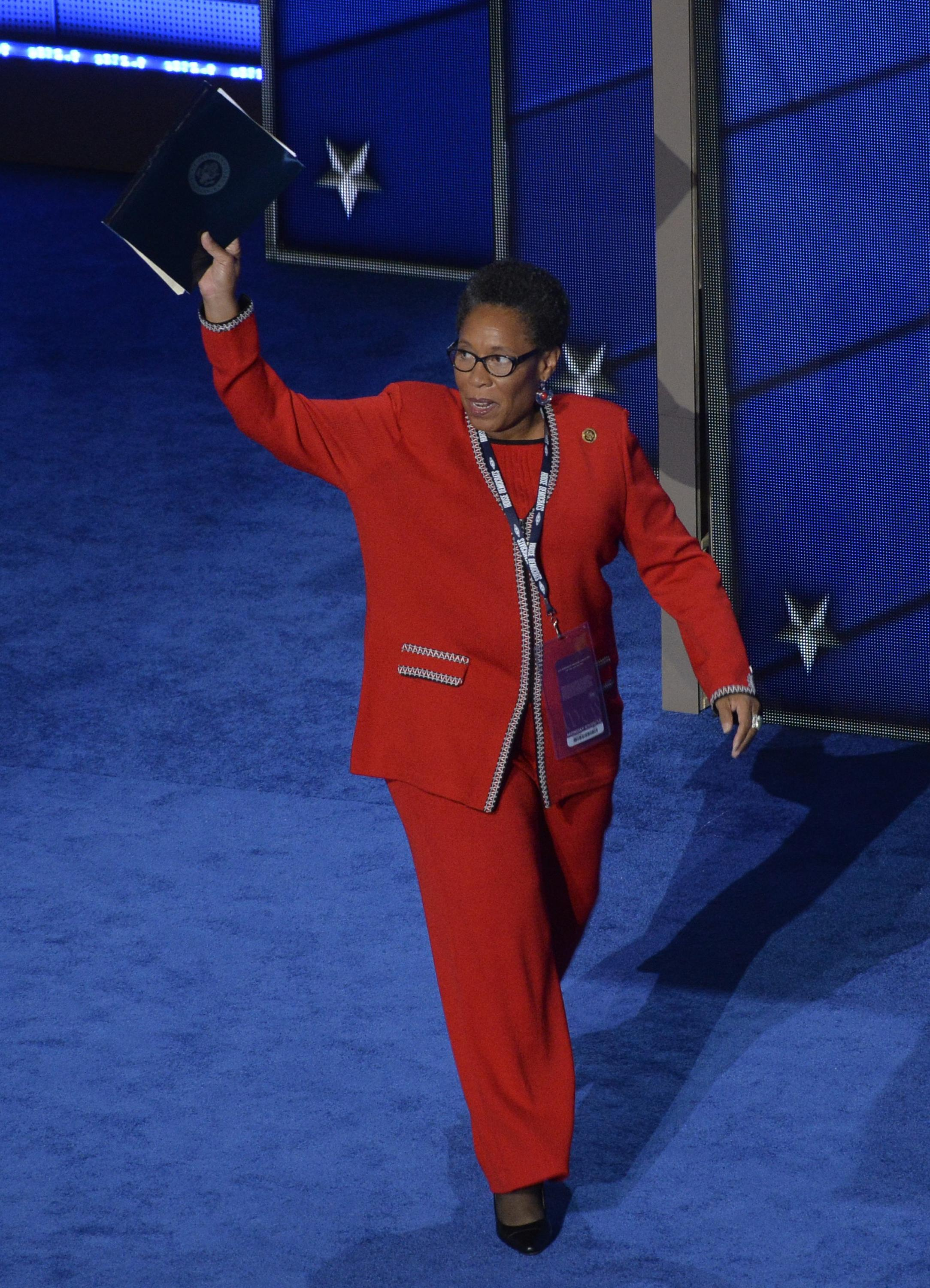 Representative Marcia Fudge (D-OH) takes the stage at the Democratic National Convention in Philadelphia, Pennsylvania, U.S. July 25, 2016. Charles Mostoller