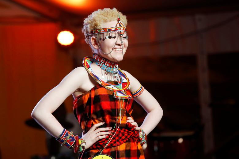 A participant poses on the catwalk during the Mr & Miss Albinism Kenya Beauty Pageant 2018 in Nairobi, Kenya, November 30, 2018.REUTERS/Baz Ratner