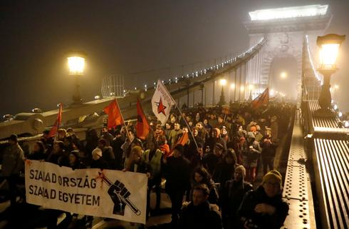 Protests against Hungary's new labor and judiciary laws