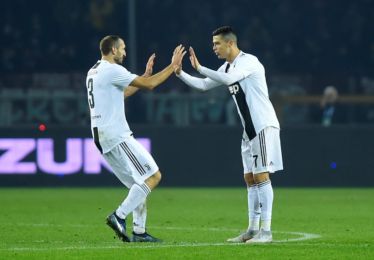 614f3ef323272 Soccer Football - Serie A - Torino v Juventus - Stadio Olimpico Grande  Torino, Turin, Italy - December 15, 2018 Juventus' Cristiano Ronaldo  celebrates ...