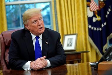 Foto de archivo. El presidente de Estados Unidos, Donald Trump, durante una...