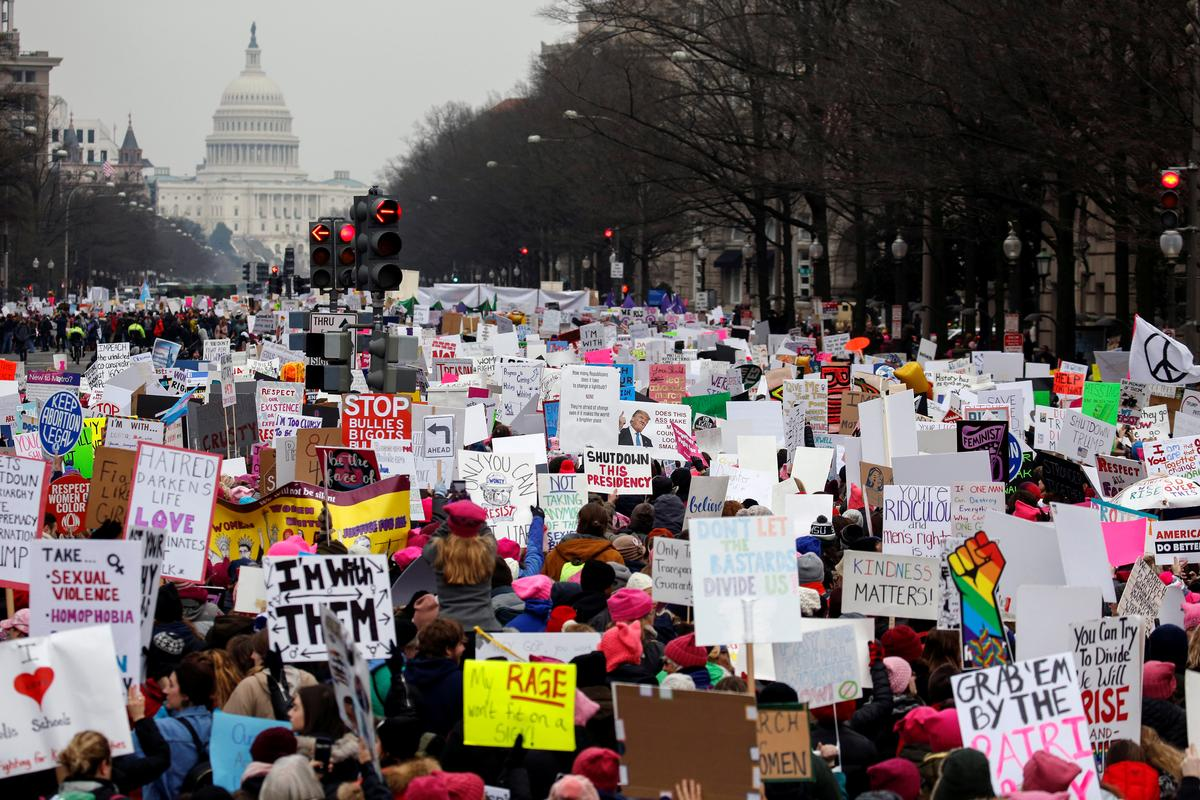 Women protest in hundreds of U.S. cities for third straight year