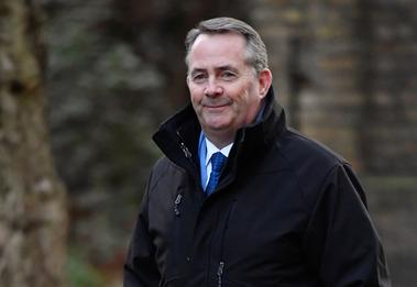 Britain's Secretary of State for International Trade Liam Fox arrives at...