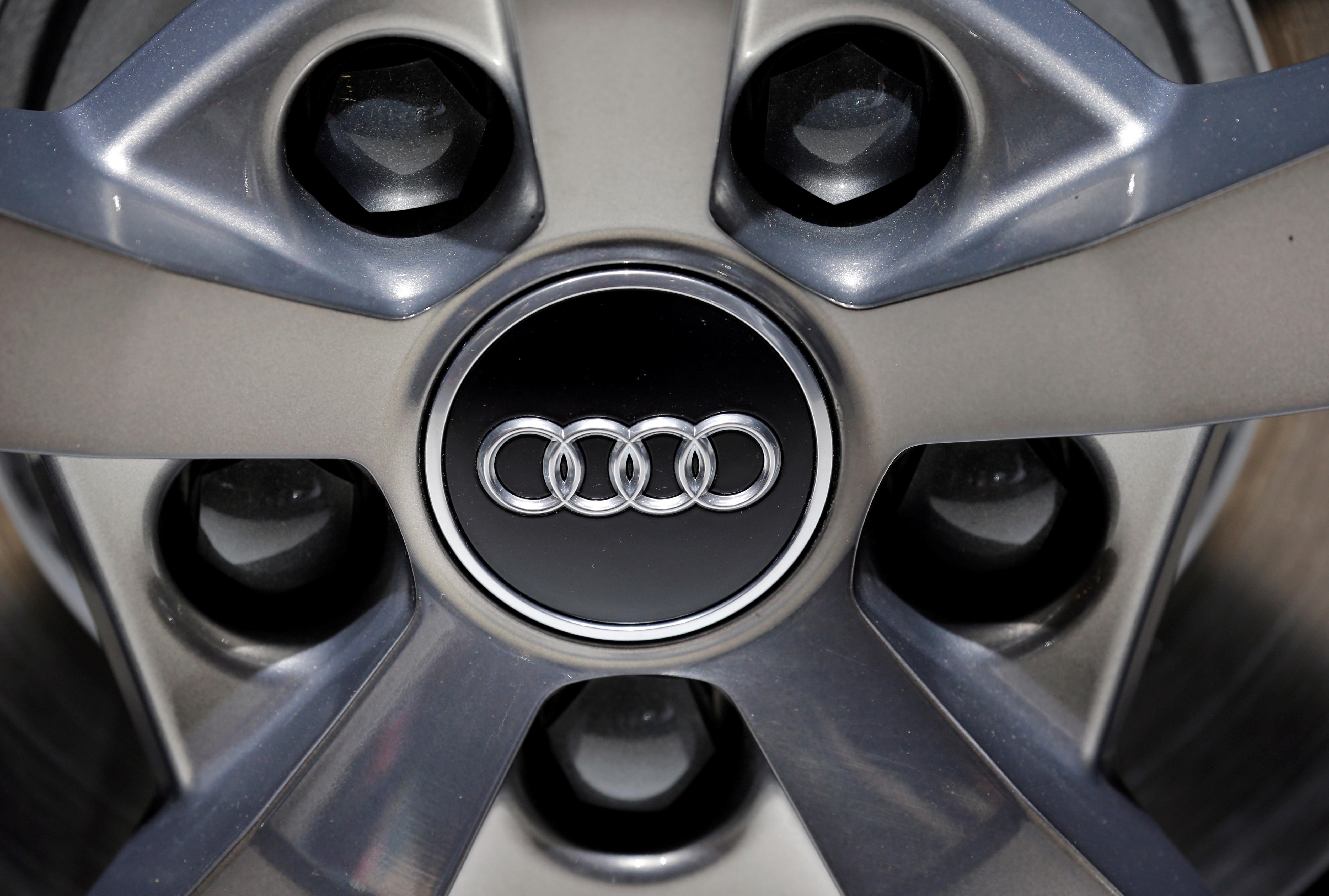 File Photo The Logo Of Audi Is Seen During First Press Day Paris Auto Show In France October 2 2018 Reuters Regis Duvignau