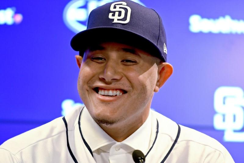 Feb 22, 2019; Peoria, AZ, USA; San Diego Padres third baseman Manny Machado  (13) answers questions from the media during an introductory press  conference at ...
