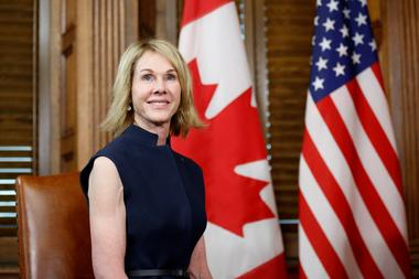 FILE PHOTO: U.S. Ambassador to Canada Kelly Craft takes part in a meeting...