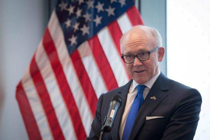 United States Ambassador To The Court Of St James Woody Johnson Speaks During A Press Preview At The New United States Embassy Building Near The River