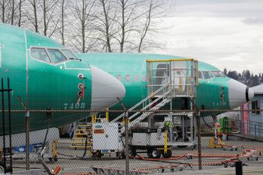 Two Boeing 737 MAX 8 aircraft are parked at a Boeing production facility in...