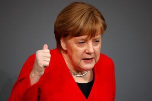 German Chancellor Merkel speaks at Bundestag ahead of EU summit on Brexit...