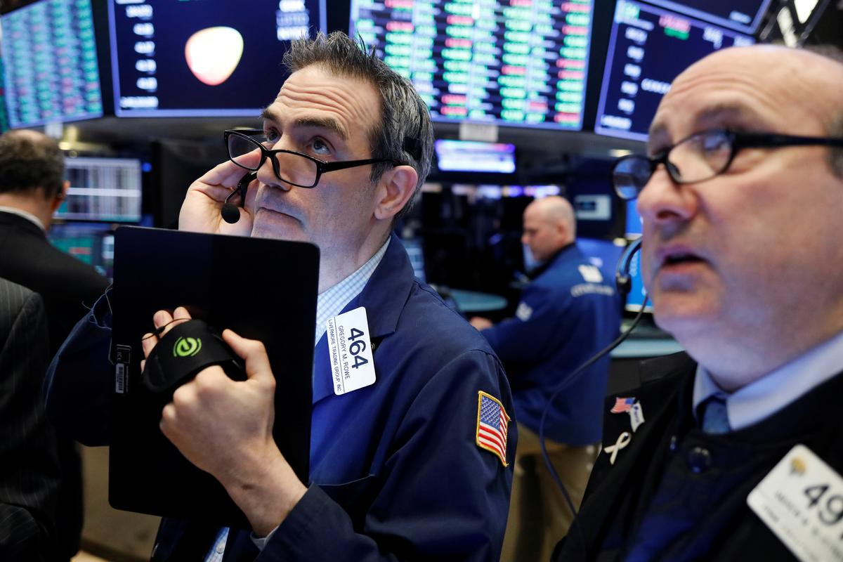 Wall Street edges up; financials on track to snap losing streak