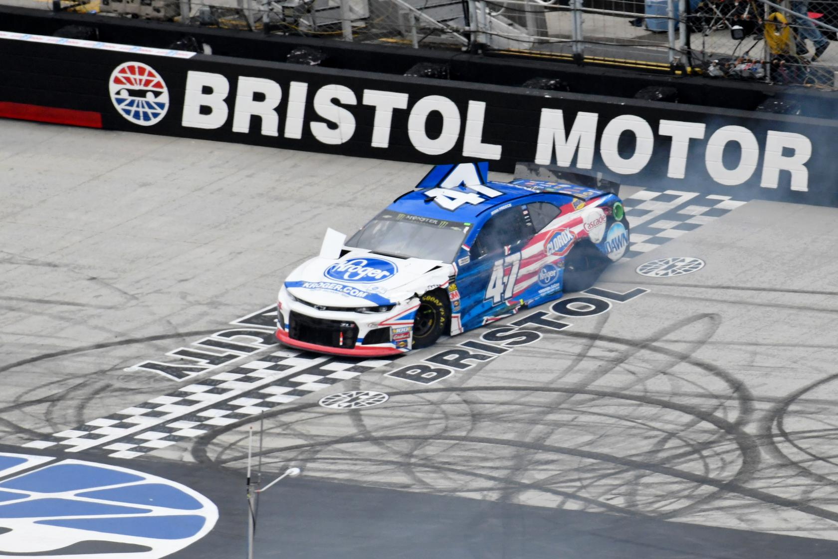 ... TN, USA; Monster Energy NASCAR Cup Series driver Ryan Preece (47) crashes during the NASCAR Monster Energy Food City 500 at Bristol Motor Speedway.