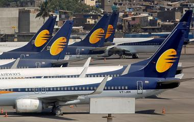 FILE PHOTO: Jet Airways aircraft are seen parked at the Chhatrapati Shivaji...