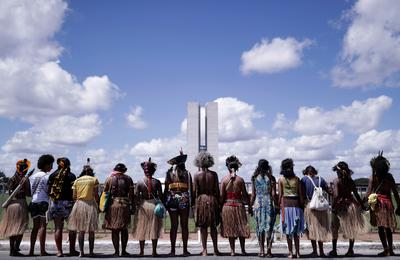 Indigenous protesters set up camp at Brazil's capital