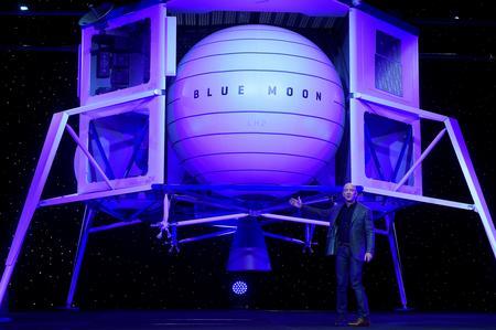 Billionaire Bezos discloses plans for moon presence, unveils lander mockup