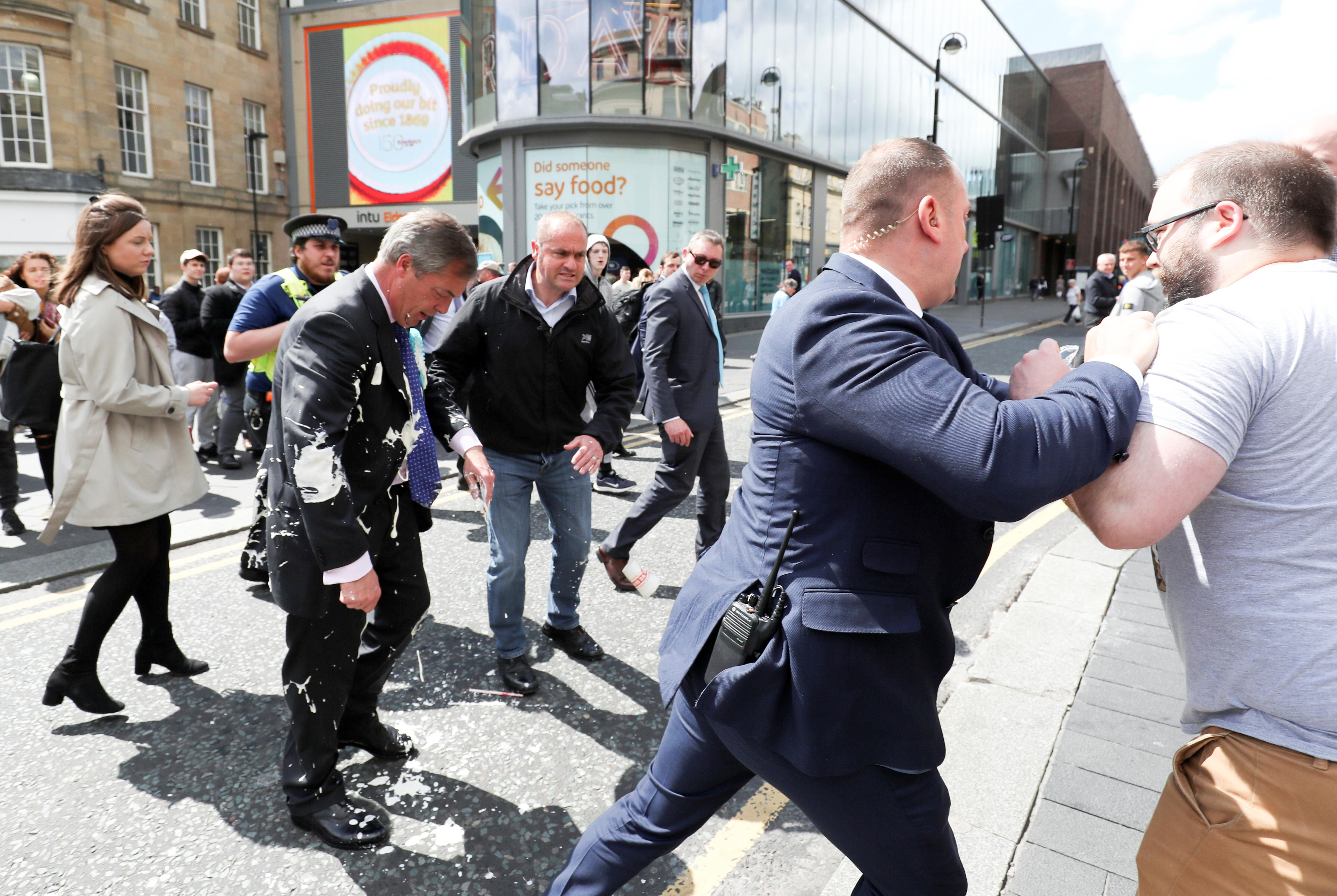 Man charged with throwing a milkshake at Brexit Party's Farage