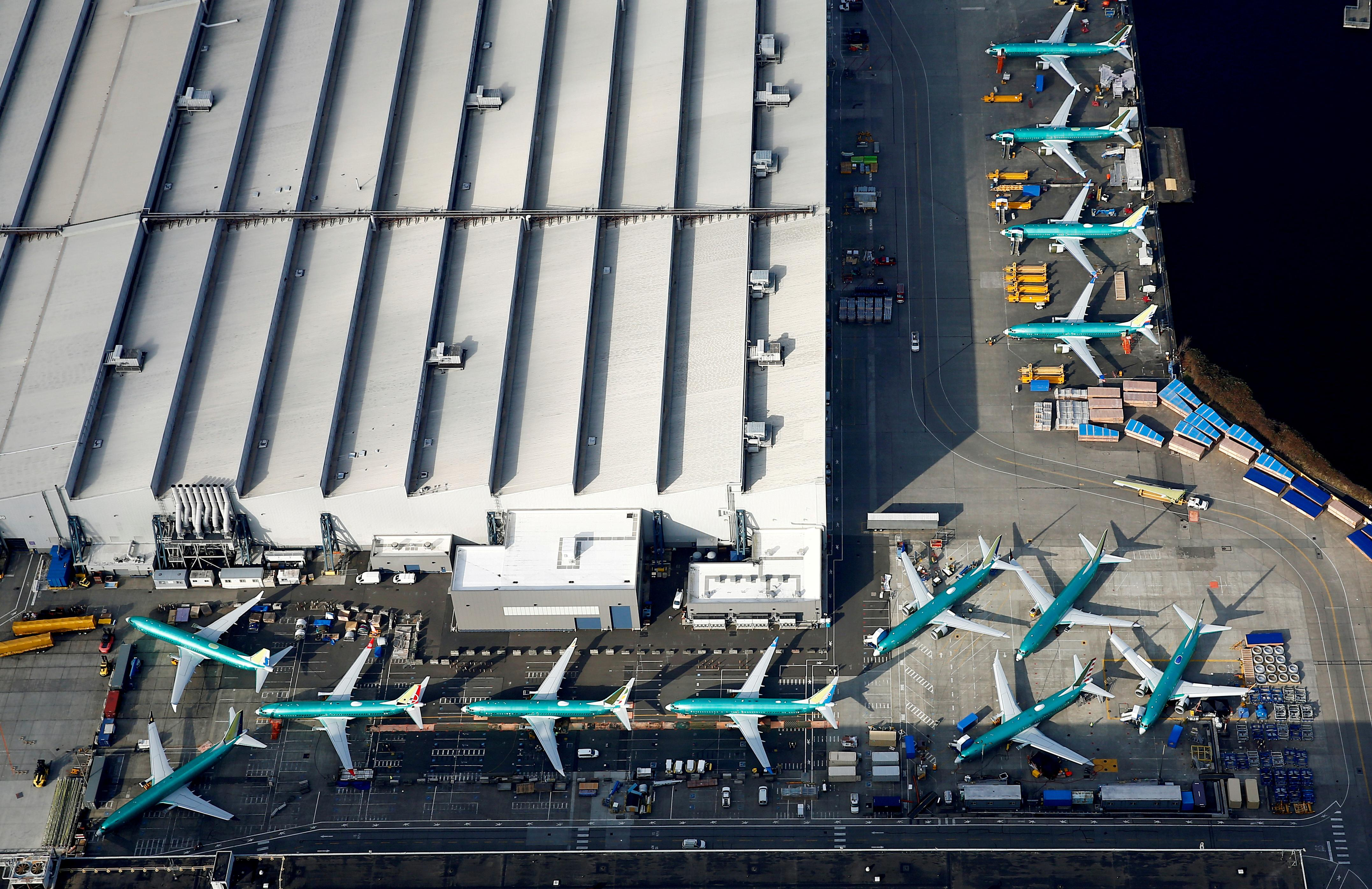 An aerial photo shows Boeing 737 MAX airplanes parked on the tarmac at the Boeing Factory in Renton, Washington, U.S. March 21, 2019. Lindsey Wasson