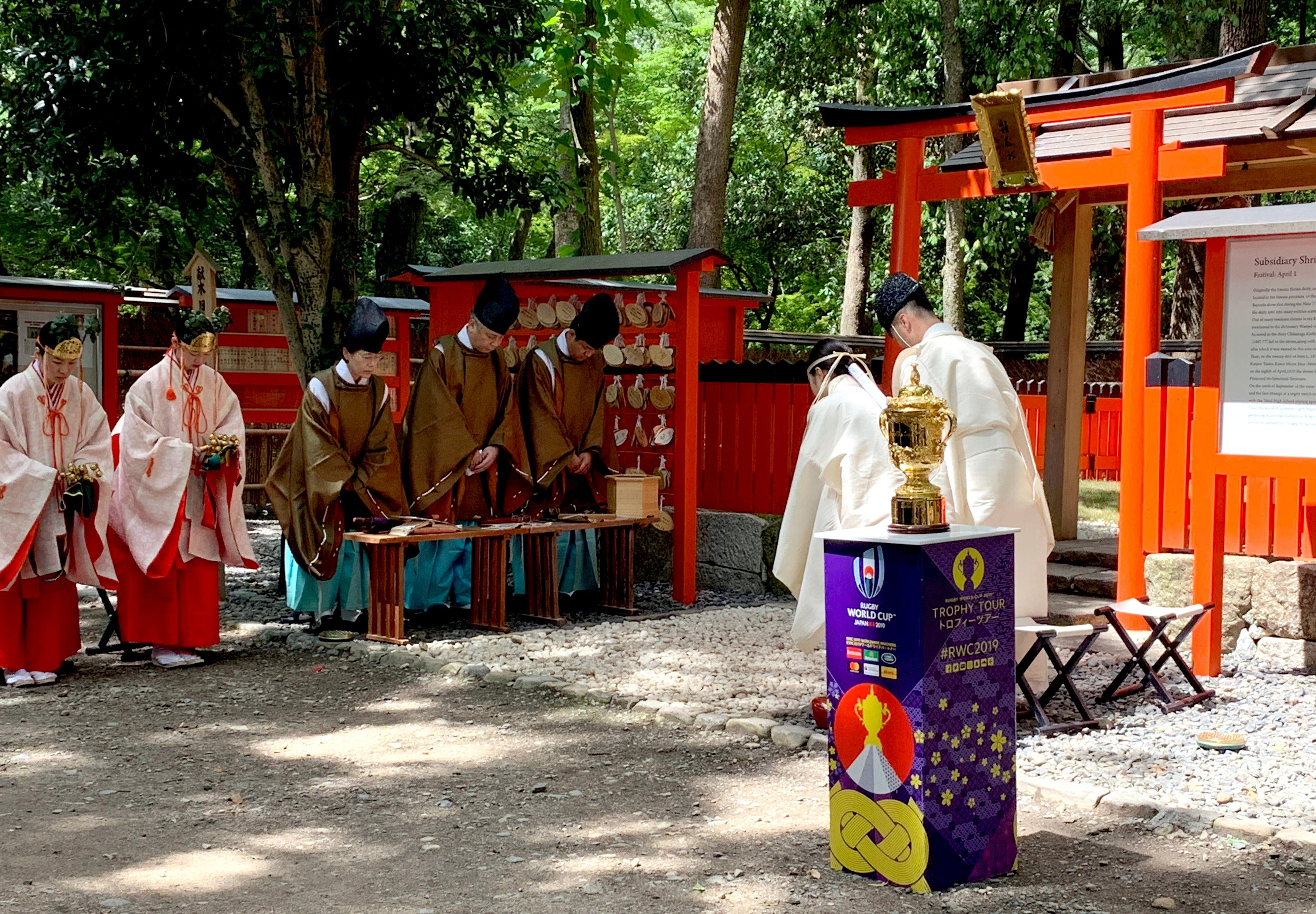 Webb Ellis Trophy blessed at temple in Kyoto before tour of Japan