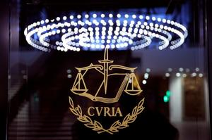 The logo of the European Court of Justice is pictured outside the main...