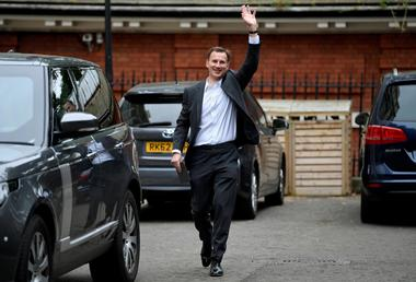 Conservative Party leadership candidate Jeremy Hunt leaves his home in...