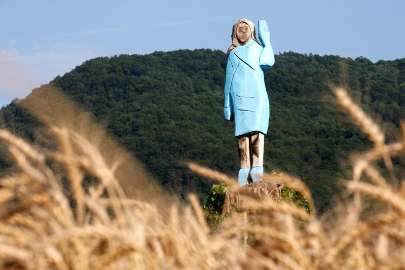 Rustic sculpture of Melania Trump unveiled near Slovenian hometown