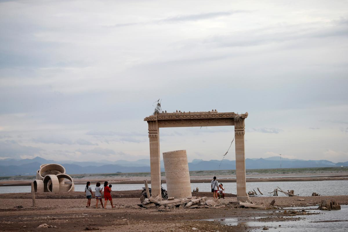 Drought reveals lost temple in Thailand submerged by dam