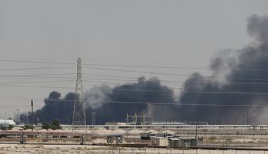 FILE PHOTO: FILE PHOTO: Smoke is seen following a fire at Aramco facility...