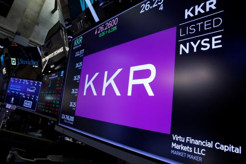Trading information for KKR & Co is displayed on a screen on the floor of the New York Stock Exchange (NYSE) in New York, U.S., August 23, 2018. Brendan McDermid