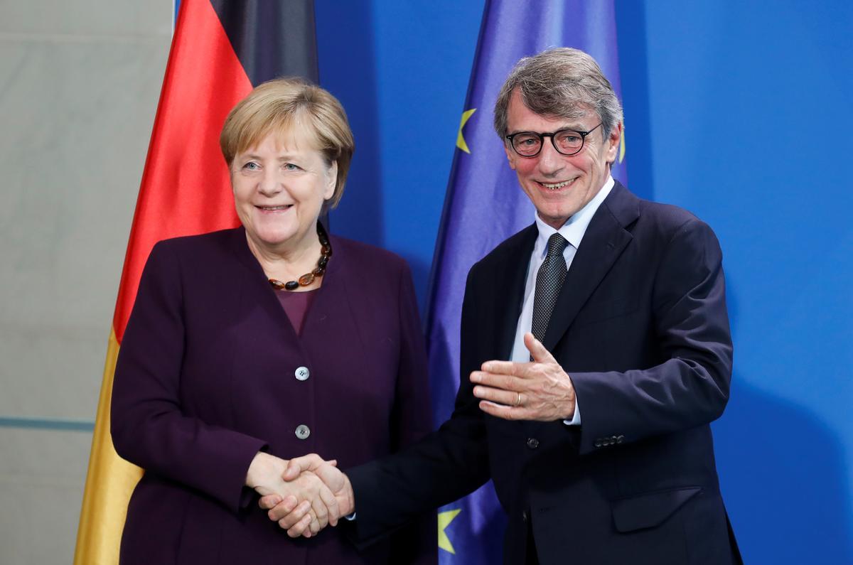 Merkel bespreek Brexit met die besoekende hoof van die Europese Parlement