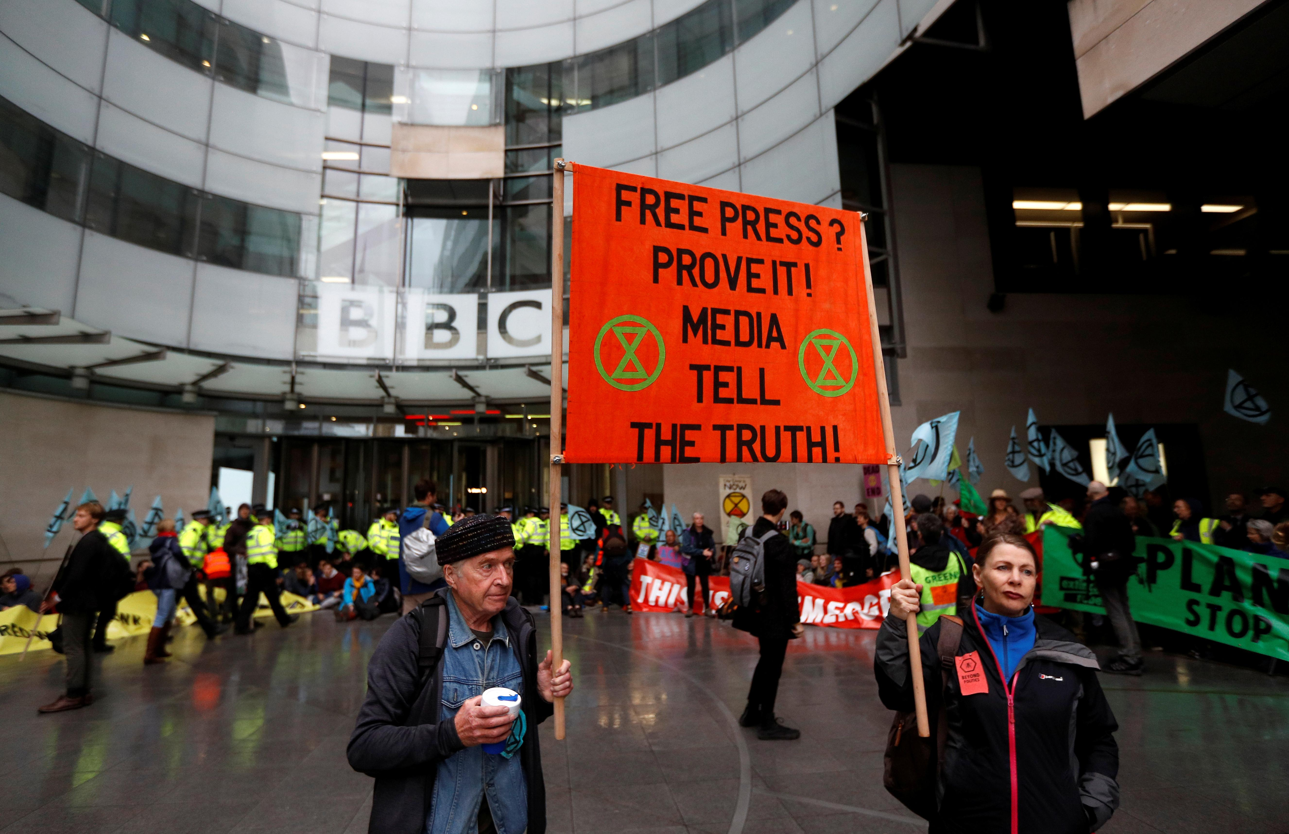 Climate-change protesters block BBC headquarters in London