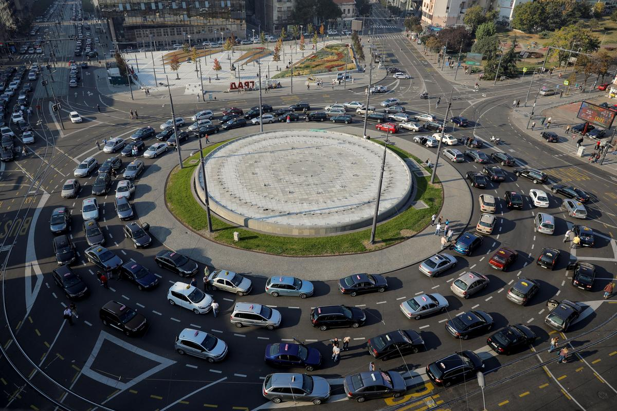 Taxi drivers protest in Serbia's capital over ride-sharing service