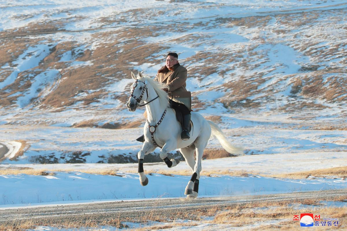 'Defiant message' as North Korea's Kim rides white horse on sacred...