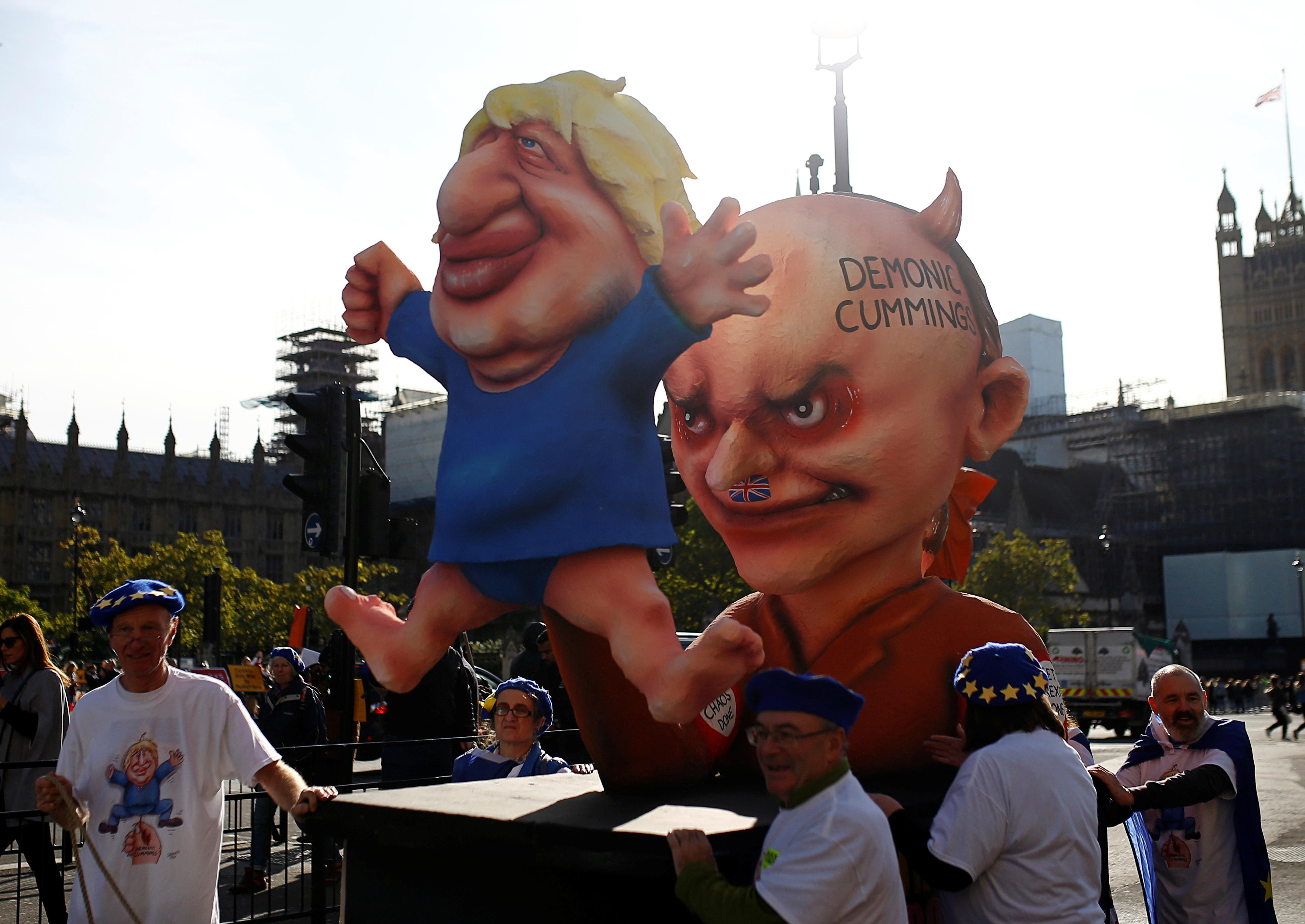 British protesters lampoon the 'Lucifer' of Brexit and his...