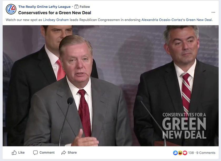 Facebook ad policy challenged by false claim Republican Graham backs Green New Deal