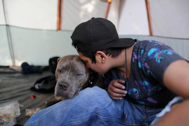 Christina Bojorquez, 26, who is homeless, sits inside the tent in which she lives with dog Ordo in Los Angeles, California. REUTERS/Lucy Nicholson