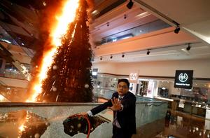 Protesters set Christmas tree on fire at Hong Kong luxury mall