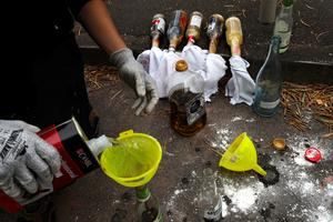 Hong Kong protesters stockpile makeshift weapons